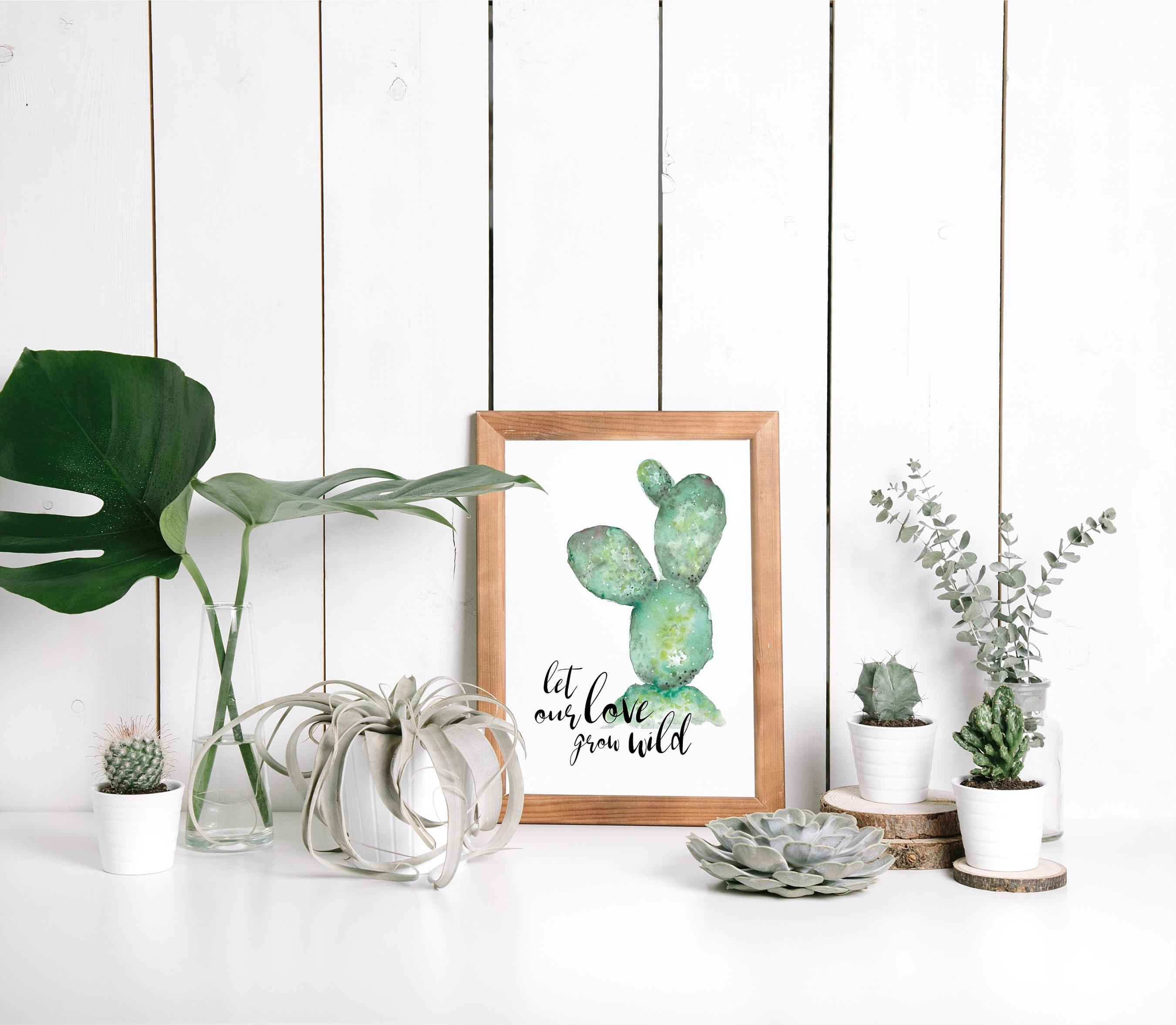 """Print im Urban Jungle Stil mit Spruch """"Let our love grow wild"""""""