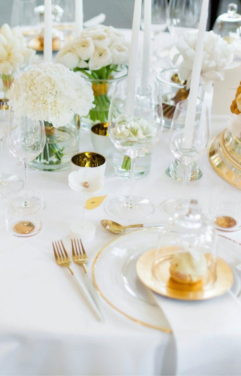 Modernes Wedding Design in Weiß und Gold