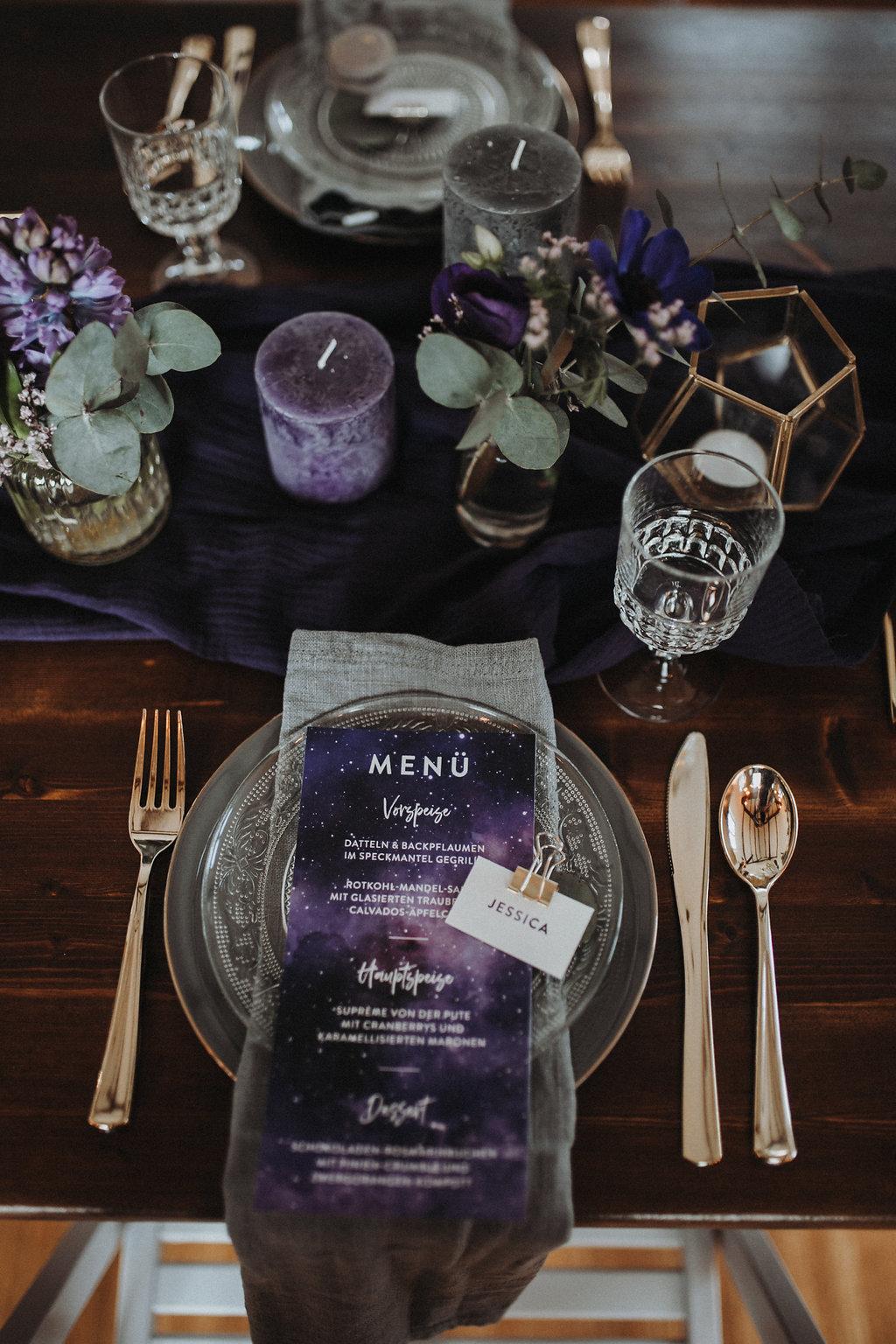 Tischdeko ultra violet, Tischdekoration lila, Tischdeko lila, Tischdekoration ultra violet