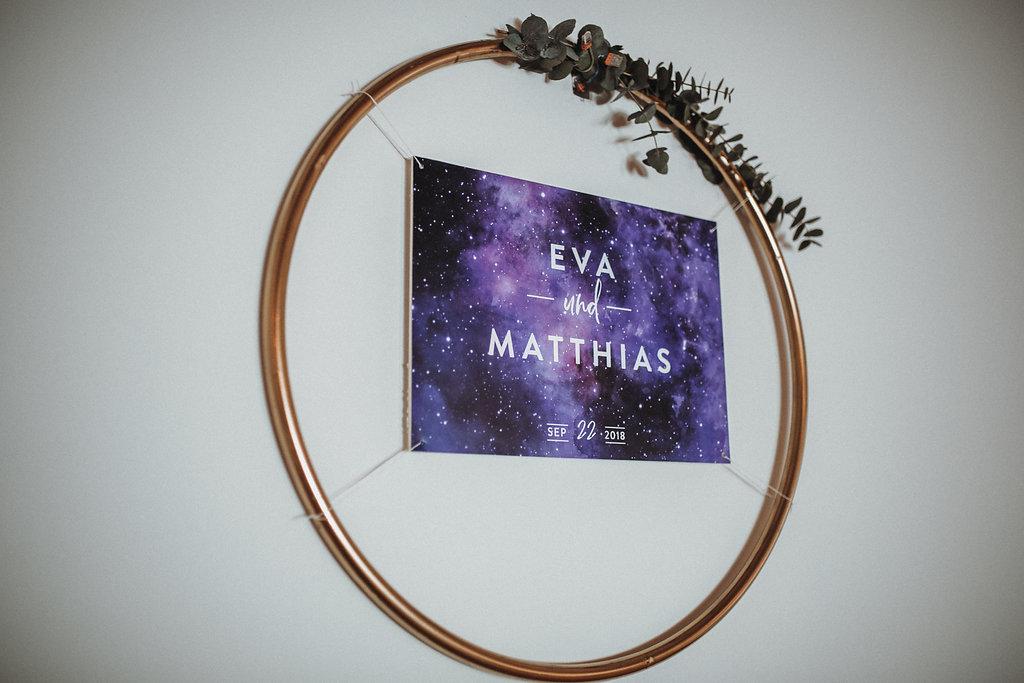 Sitzplan Ultra Violet galaxy Wedding mit Sternenhimmel Motiv