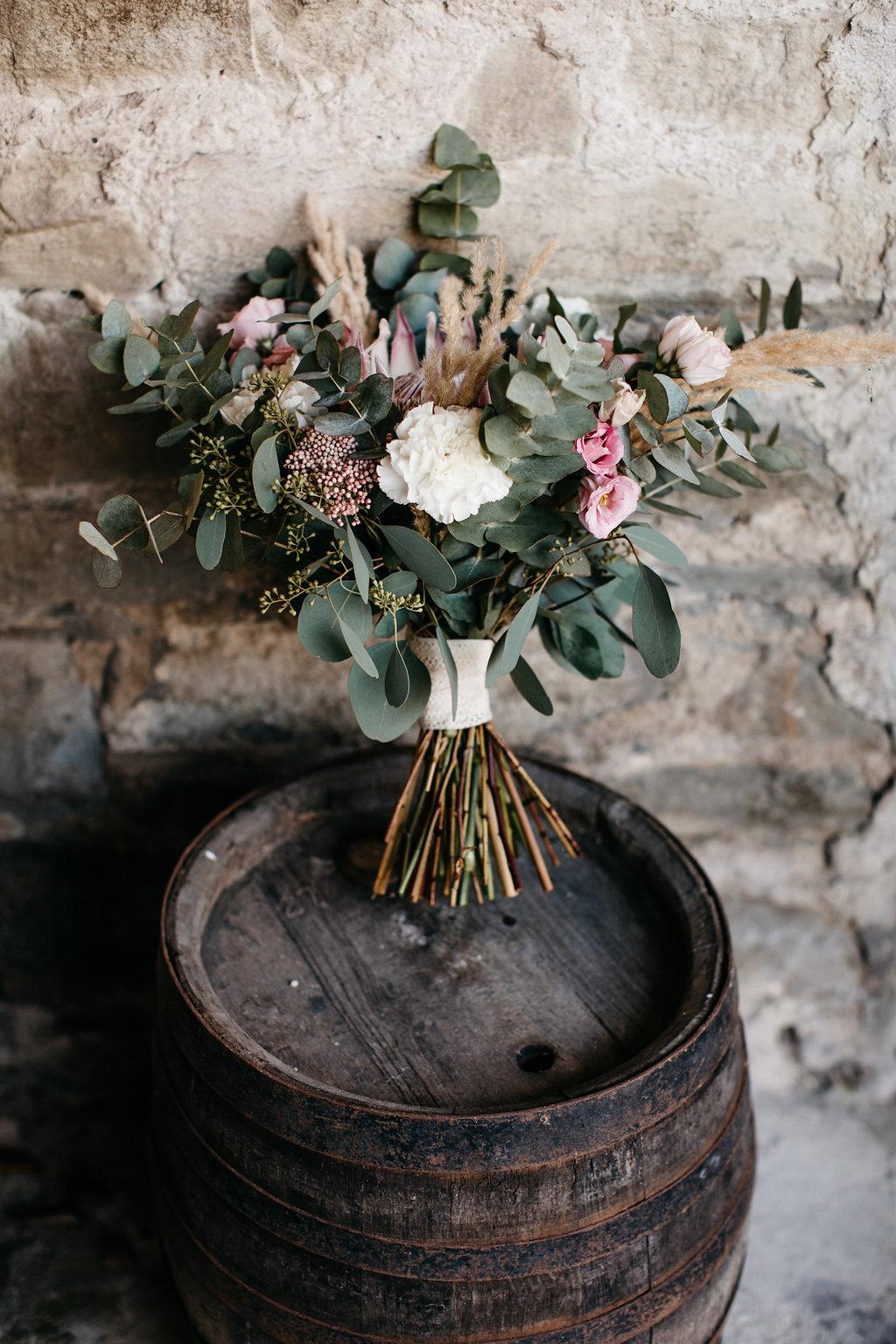 Brautstrauß Boho, Brautstrauß Protea, Brautstrauß Eukalyptus, Brautstrauß Boho Hochzeit