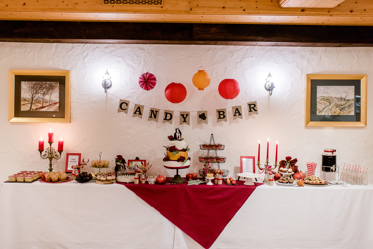 Candy Bar Herbsthochzeit, Candy Bar rot, Candy Bar Herbst