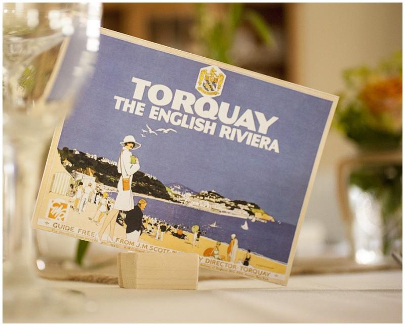 Vintage Postkarte als Menükarte und Tischname für Hochzeit