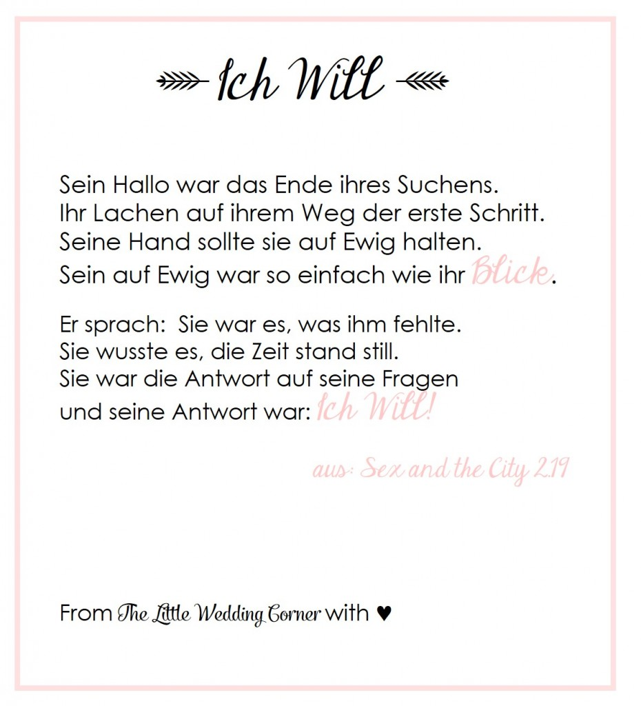 Sex and the City Gedicht Hochzeit