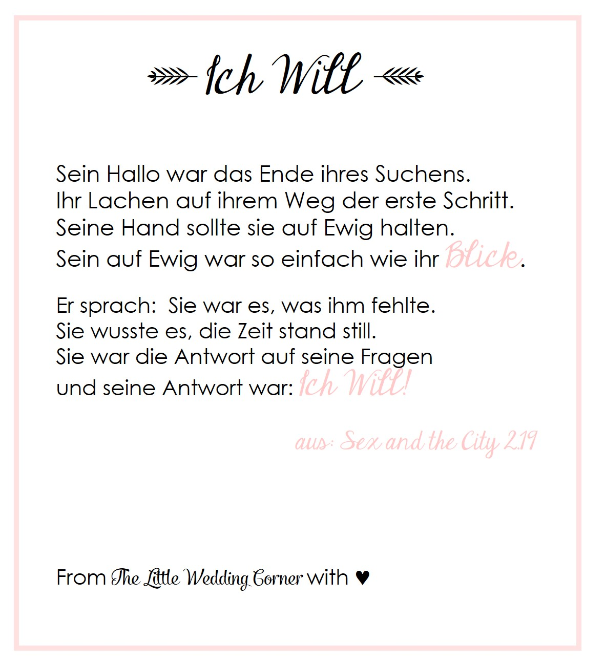 gedicht zur hochzeit i do von carrie aus sex and the city hochzeitsblog the little wedding. Black Bedroom Furniture Sets. Home Design Ideas