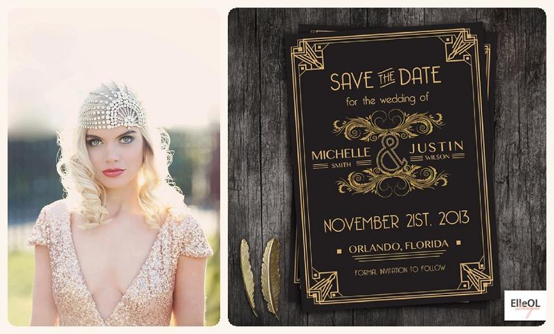 Great Gatsby / Art Deco Hochzeit mit viel Gold Schwarz