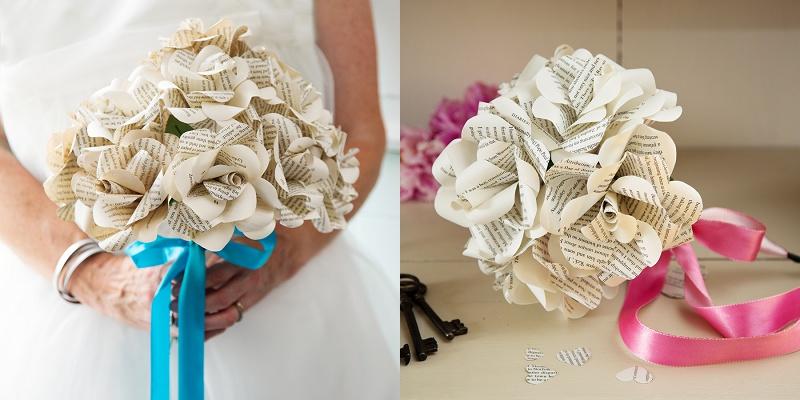 Brautstrauß aus Papierrosen und Buchseiten Bookishengland