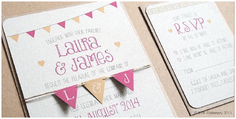 Einladungskarte Hochzeit Wimpelkette von STNStationery Etsy