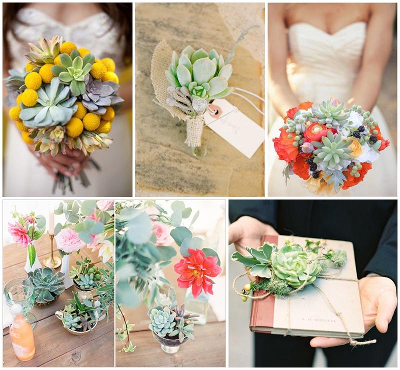 Sukkulente zur Hochzeit Brautstrauß Tischdeko