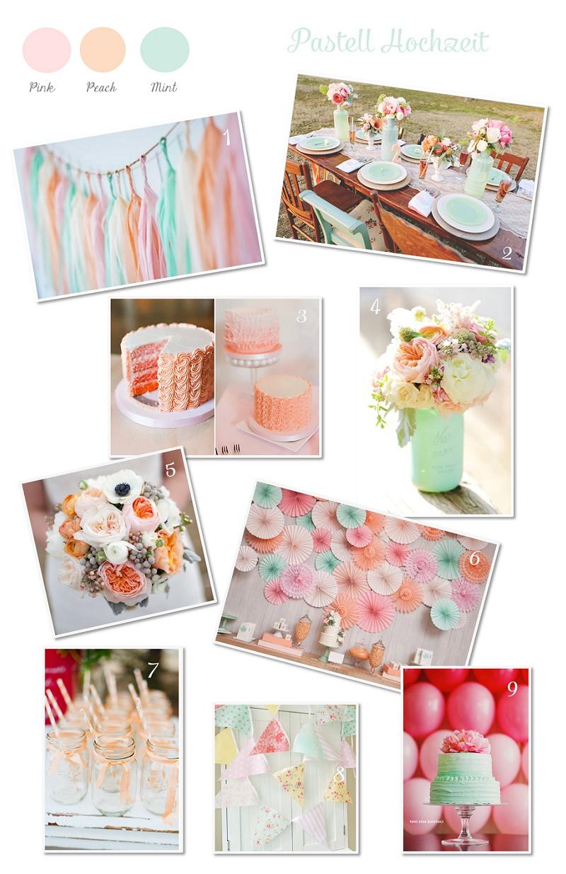 Pastell Hochzeit Inspirationen Mint Türkis Pfirsich Pink