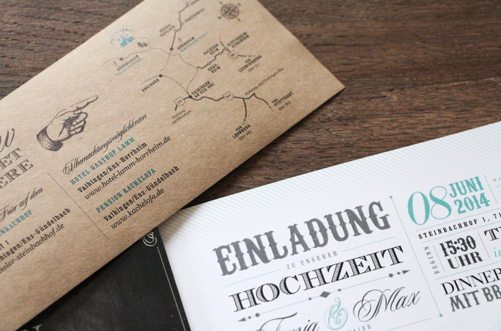Einladungskarte Hochzeit rustikal
