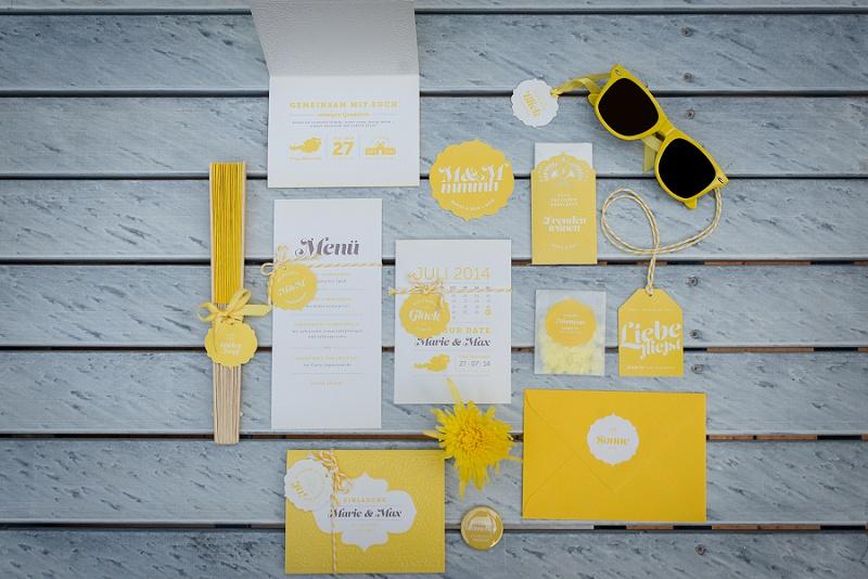 Hochzeitspapeterie gelb