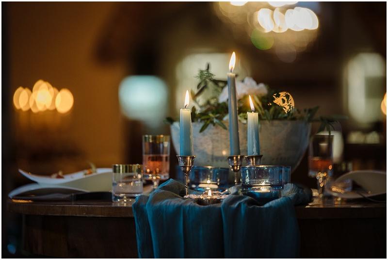 Hochzeit blaue Tischdeko