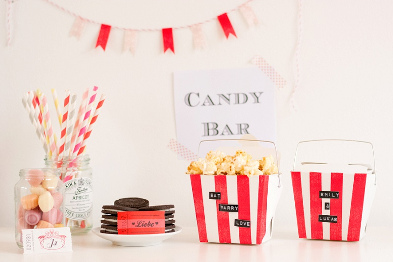 "DIY Candy Bar ""Eat Marry Love"" mit Popcorntüten"