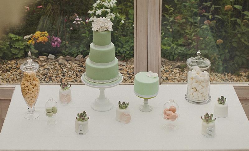 Hochzeitstorte mint Sukkulenten