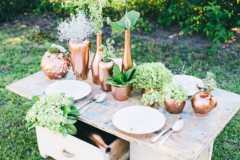 Traumhafte Tischdekoration Aus Grun Und Kupfer Von Vergiss Mein