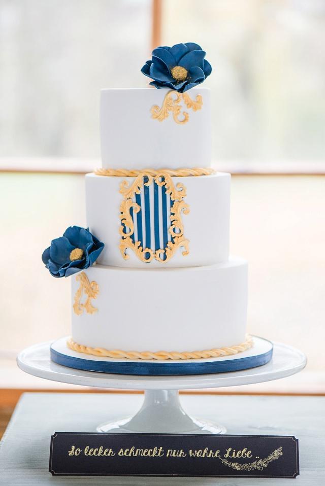 Hochzeitstorte gold blau