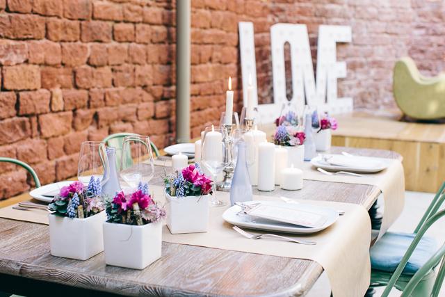 Tischdeko rosa blau