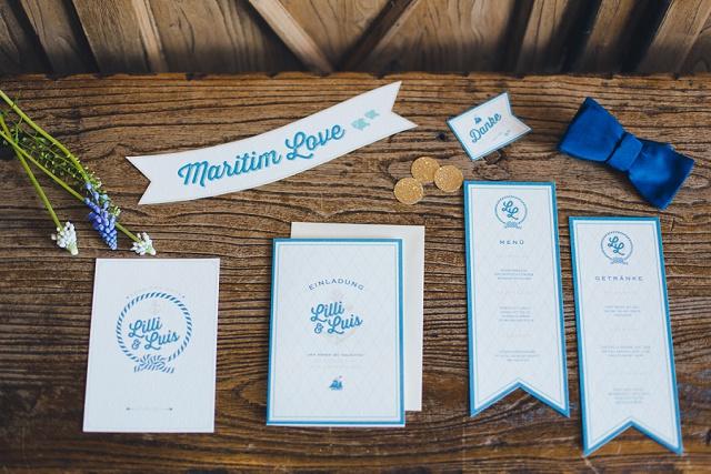 Papeterie Hochzeit blau