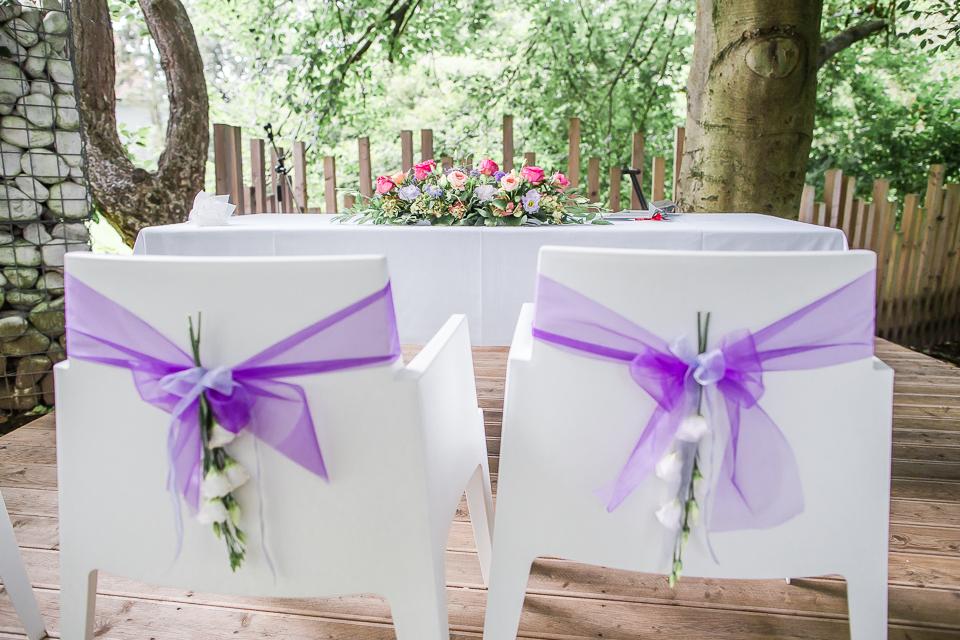 Trauung Hochzeitsdekoration lila