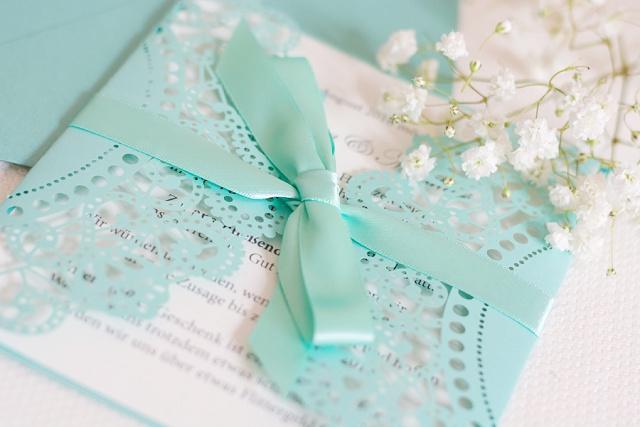 Lucy van Barnes Hochzeitseinladung türkis
