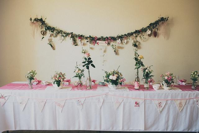Vintage Hochzeit Tischdeko rosa
