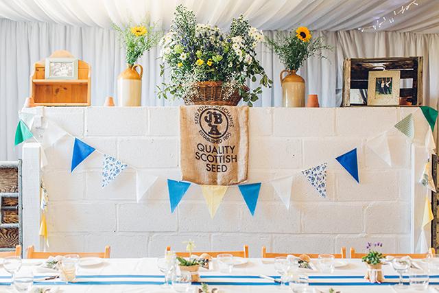 Hochzeit Dekoration blau gelb Wimpelkette