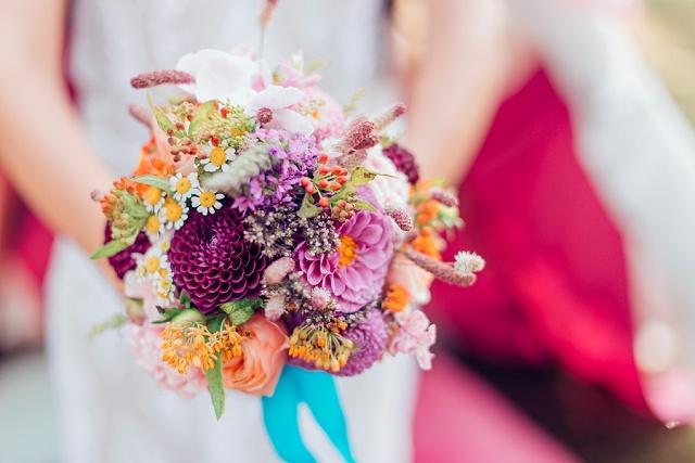 Brautstrauß Boho lila