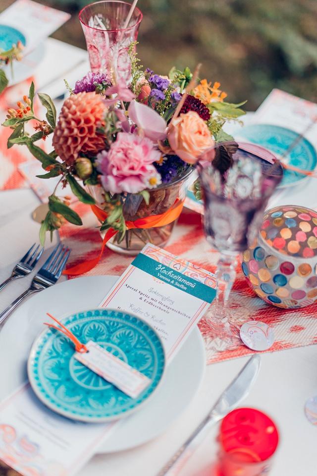 Hochzeit Tischdeko Boho blau