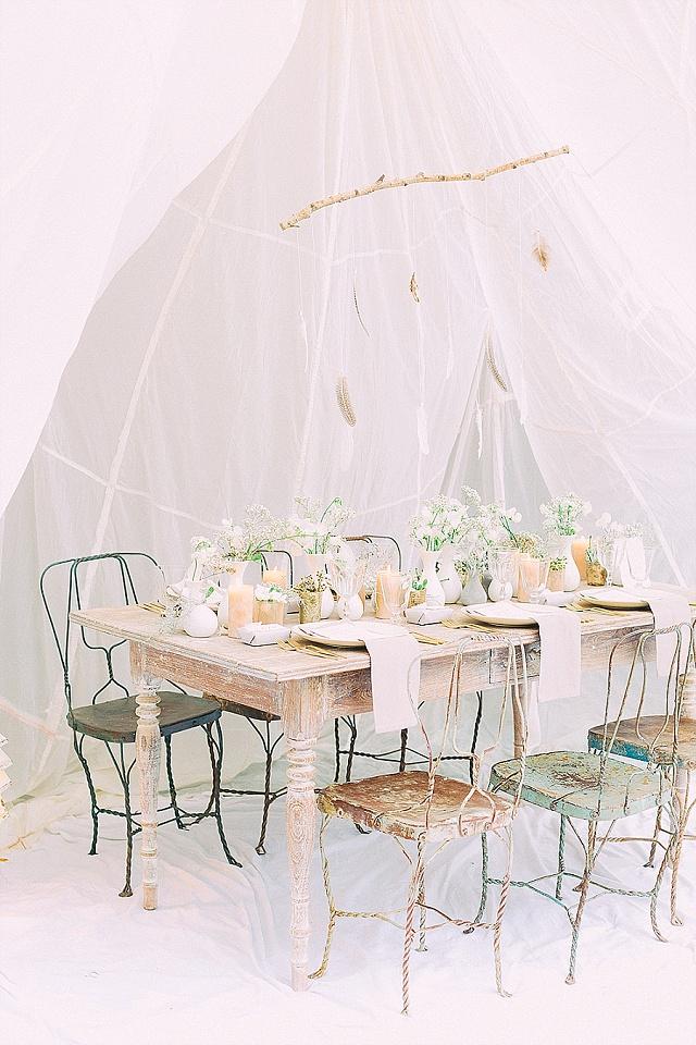 Tischdeko Boho shabby chic Hochzeit