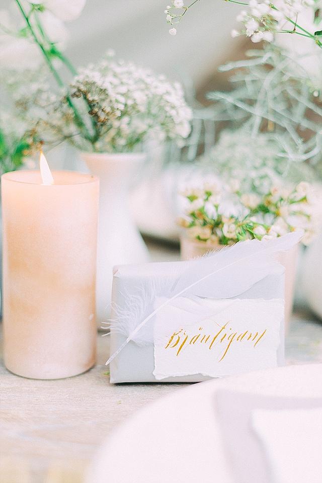 Gold Kalligraphie Platzkarten Hochzeit