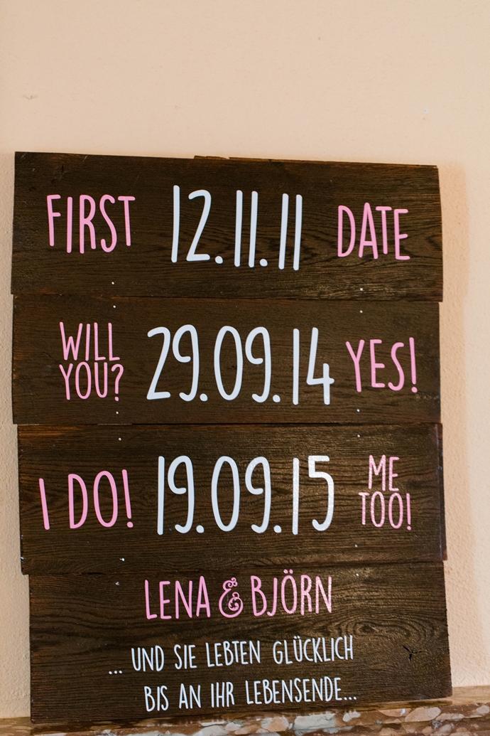 Hochzeit Schild Datum