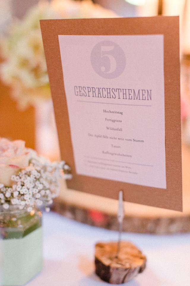 Unterhaltung Gäste Hochzeit mit Gesprächsthemen auf dem Tisch