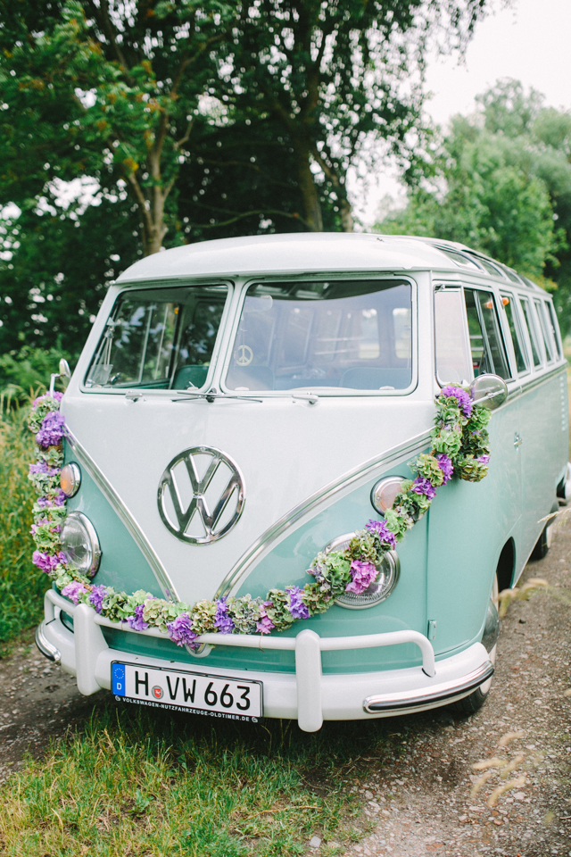 Hochzeitsauto VW Bulli Dekoration