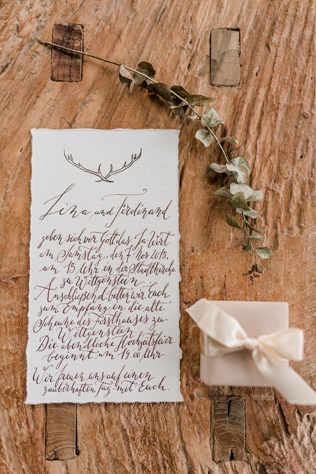 Einladung Hochzeit Handkalligrafie