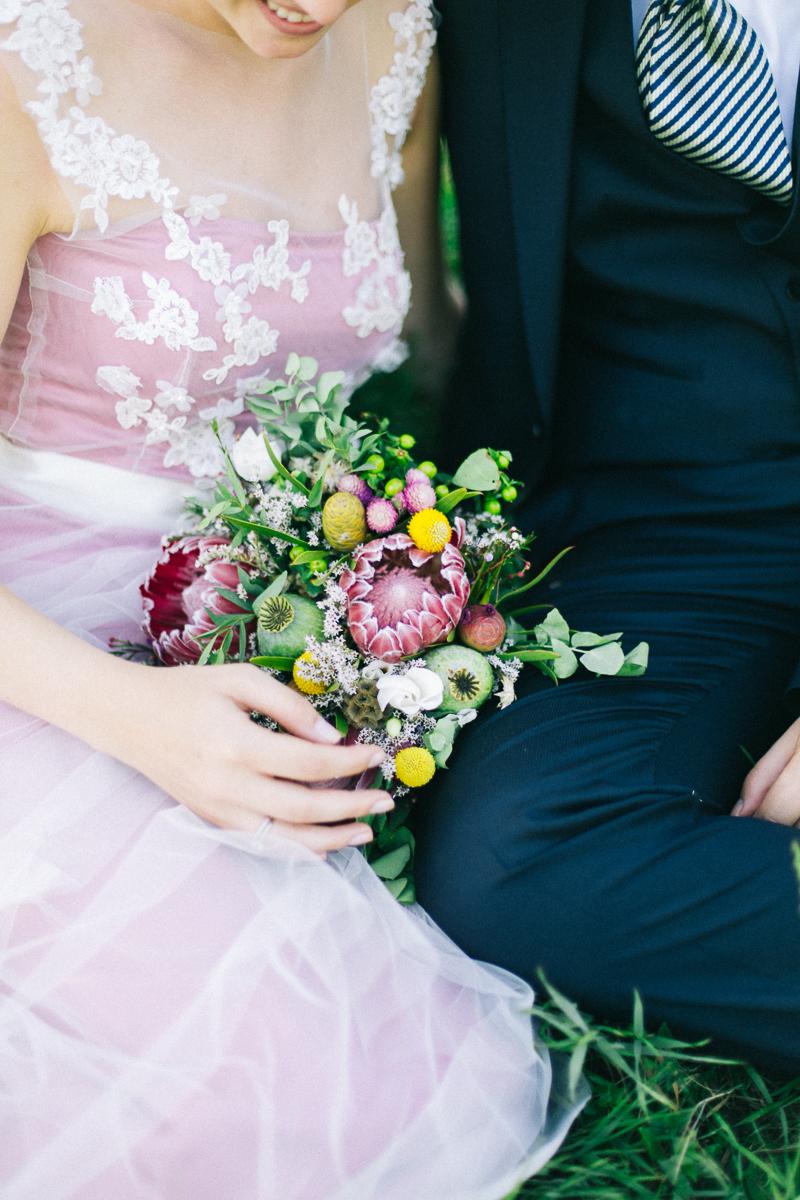 Brautstrauß Protea Trommelstöckchen