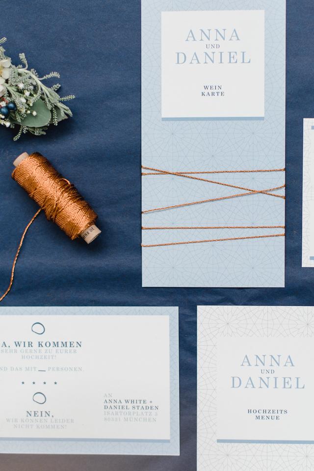 Hochzeitspapeterie blau kupfer