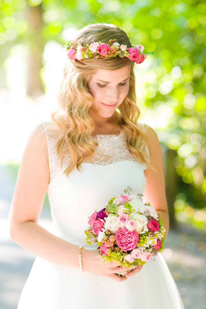 Brautstrauß pink grün