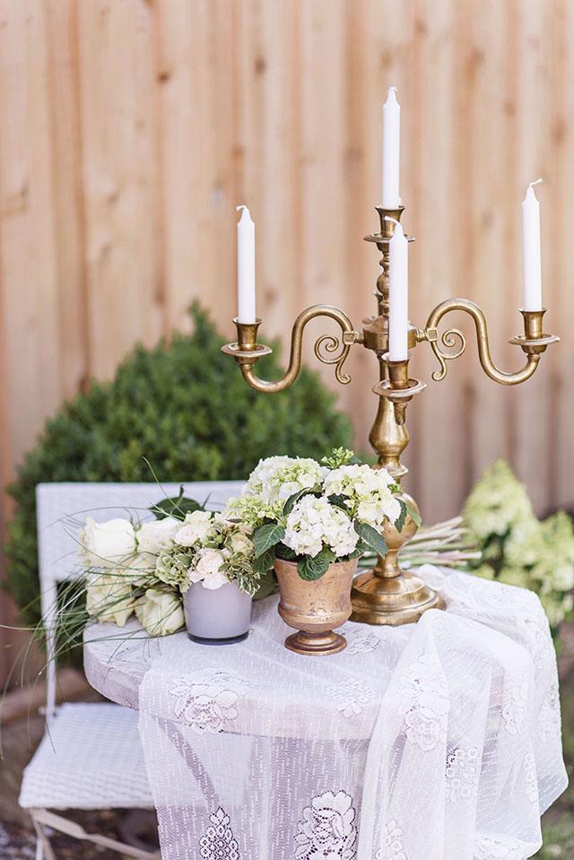 Hochzeitsdekoration Vintage Messing