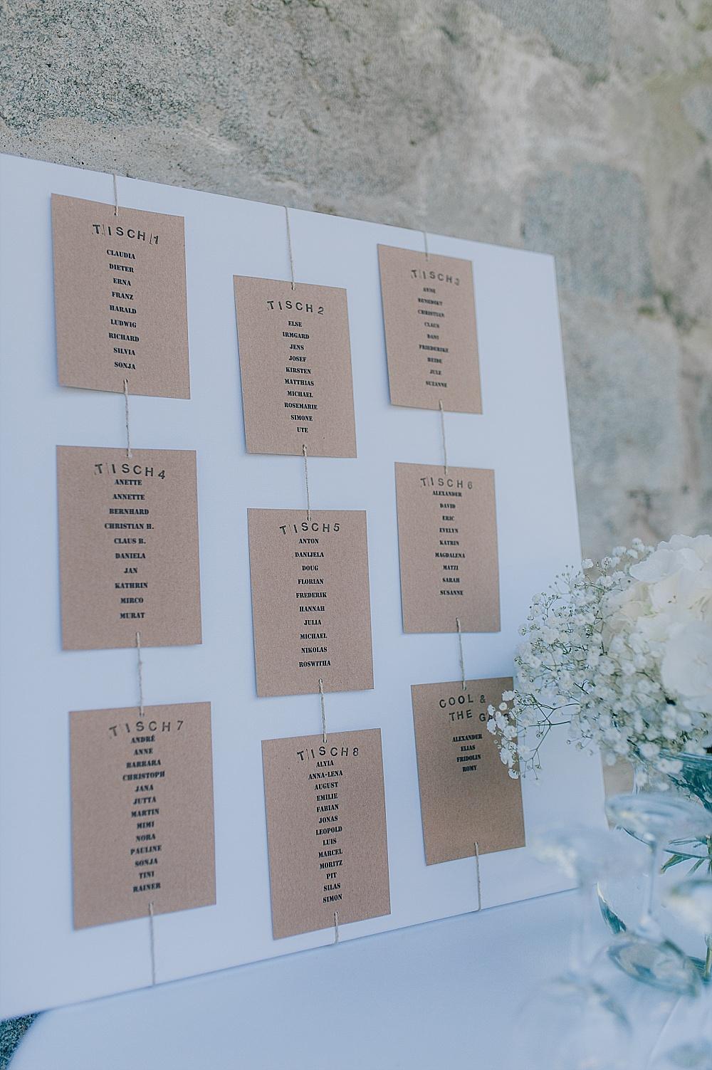 Sitzplan Hochzeit Kraftpapier