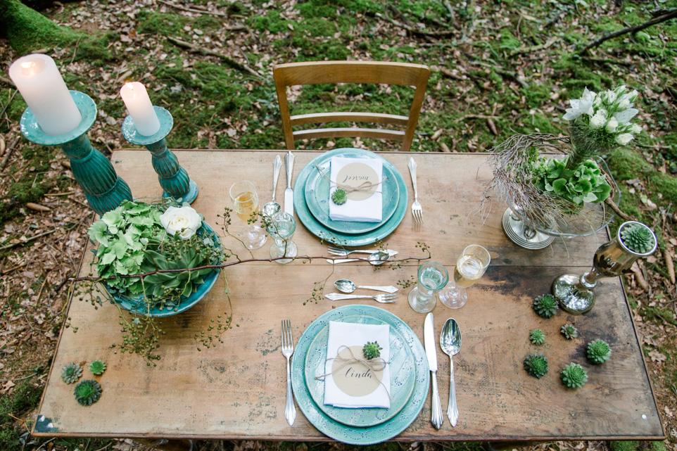 Waldhochzeit Tischdekoration
