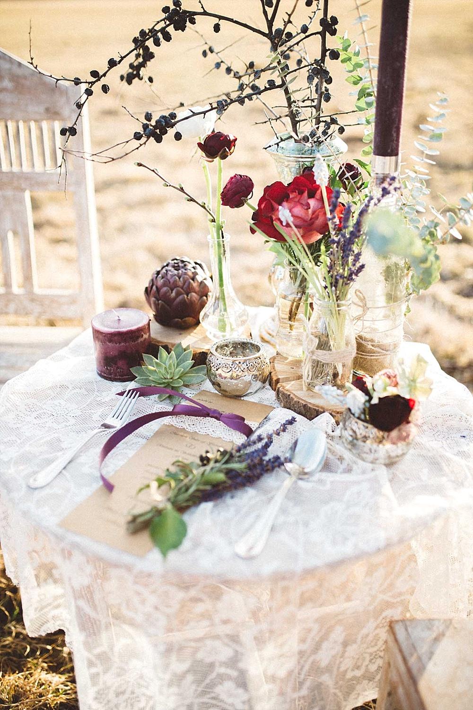 Tischdekoration Hochzeit  Boho