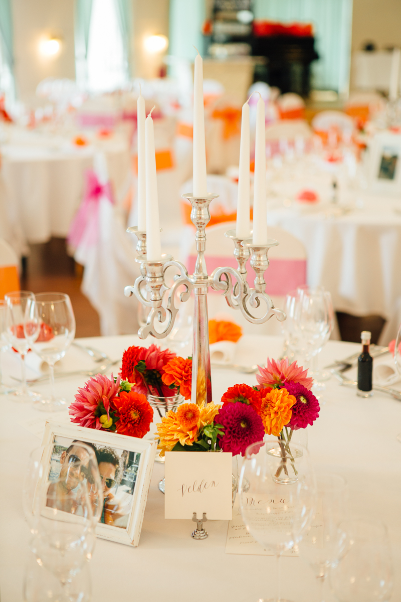 Tischdeko rot orange pink