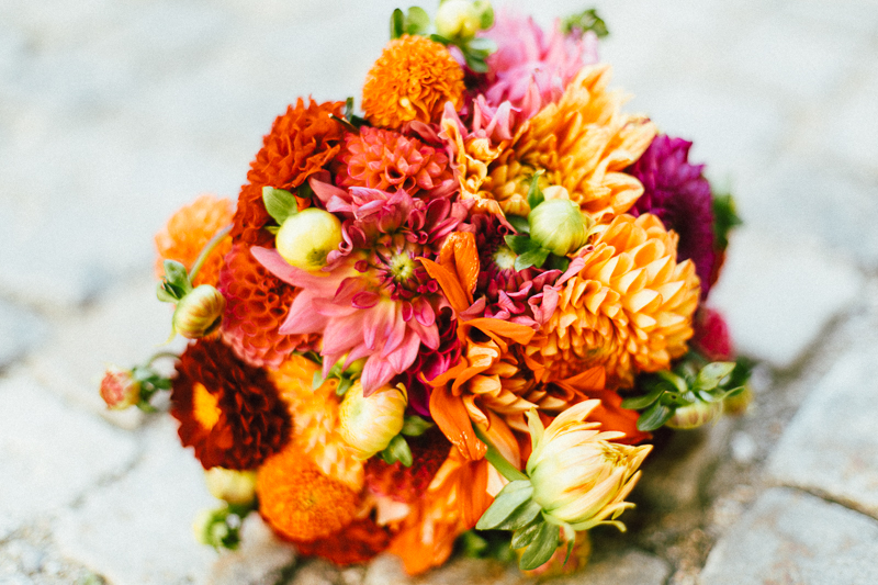 Brautstrauß rot orange pink