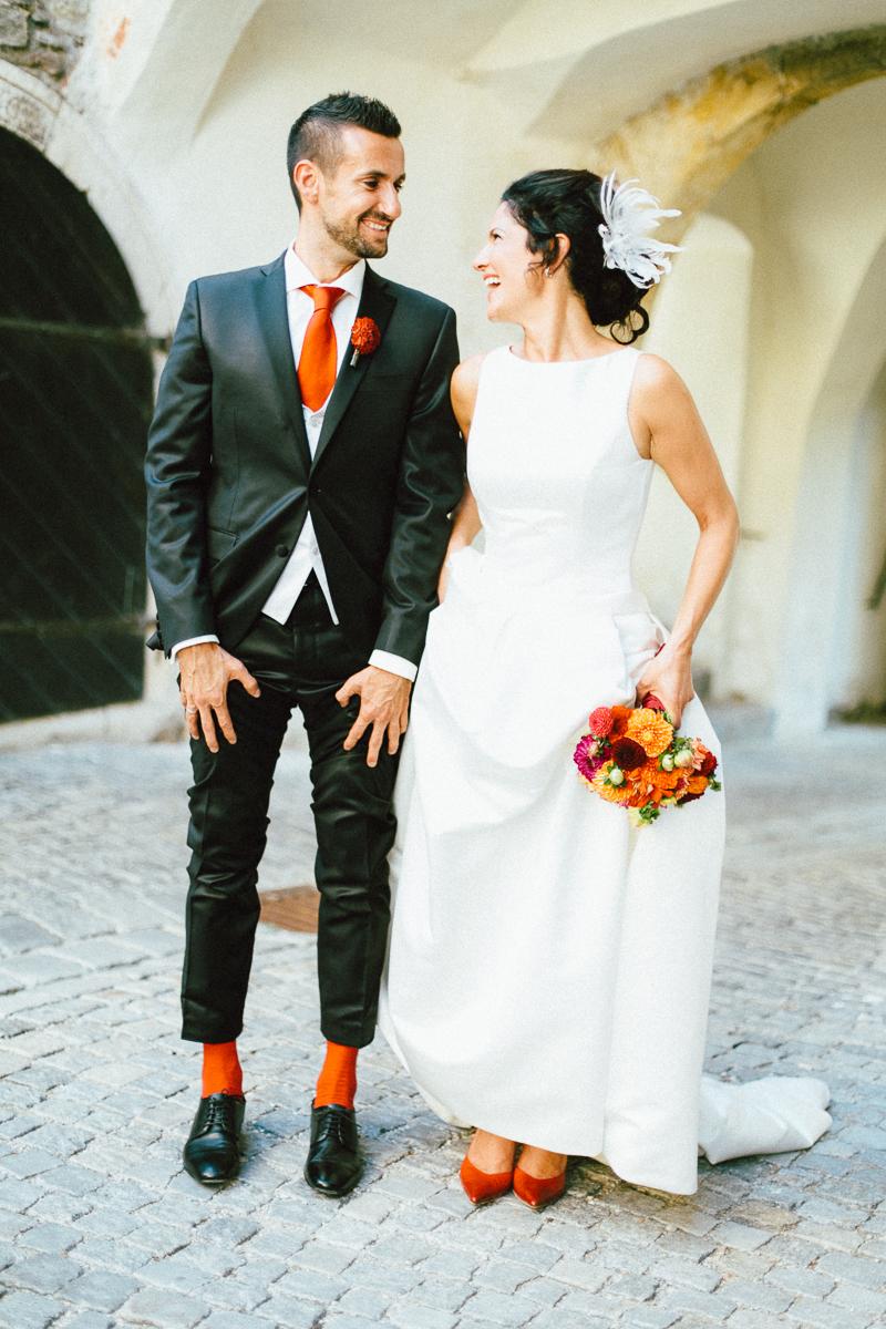 Brautpaar rot orange Deko