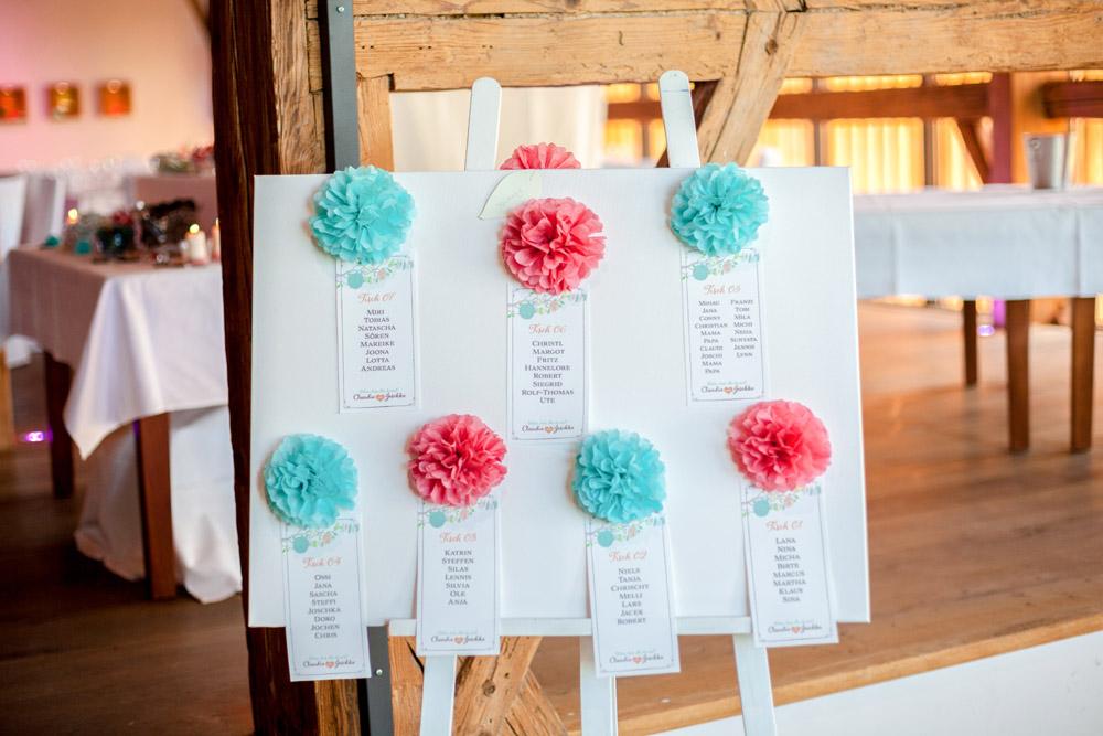 Sitzplan Hochzeit korall mint