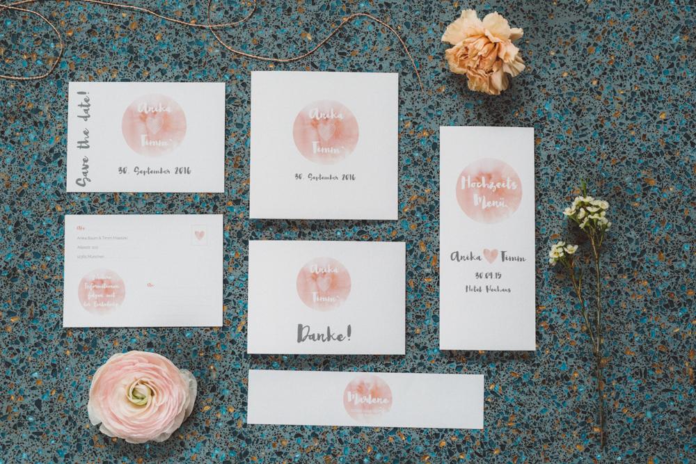 Hochzeitspapeterie peach