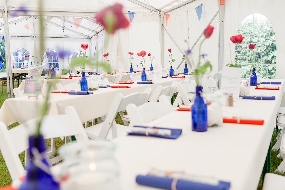 Hochzeitsdeko rot blau