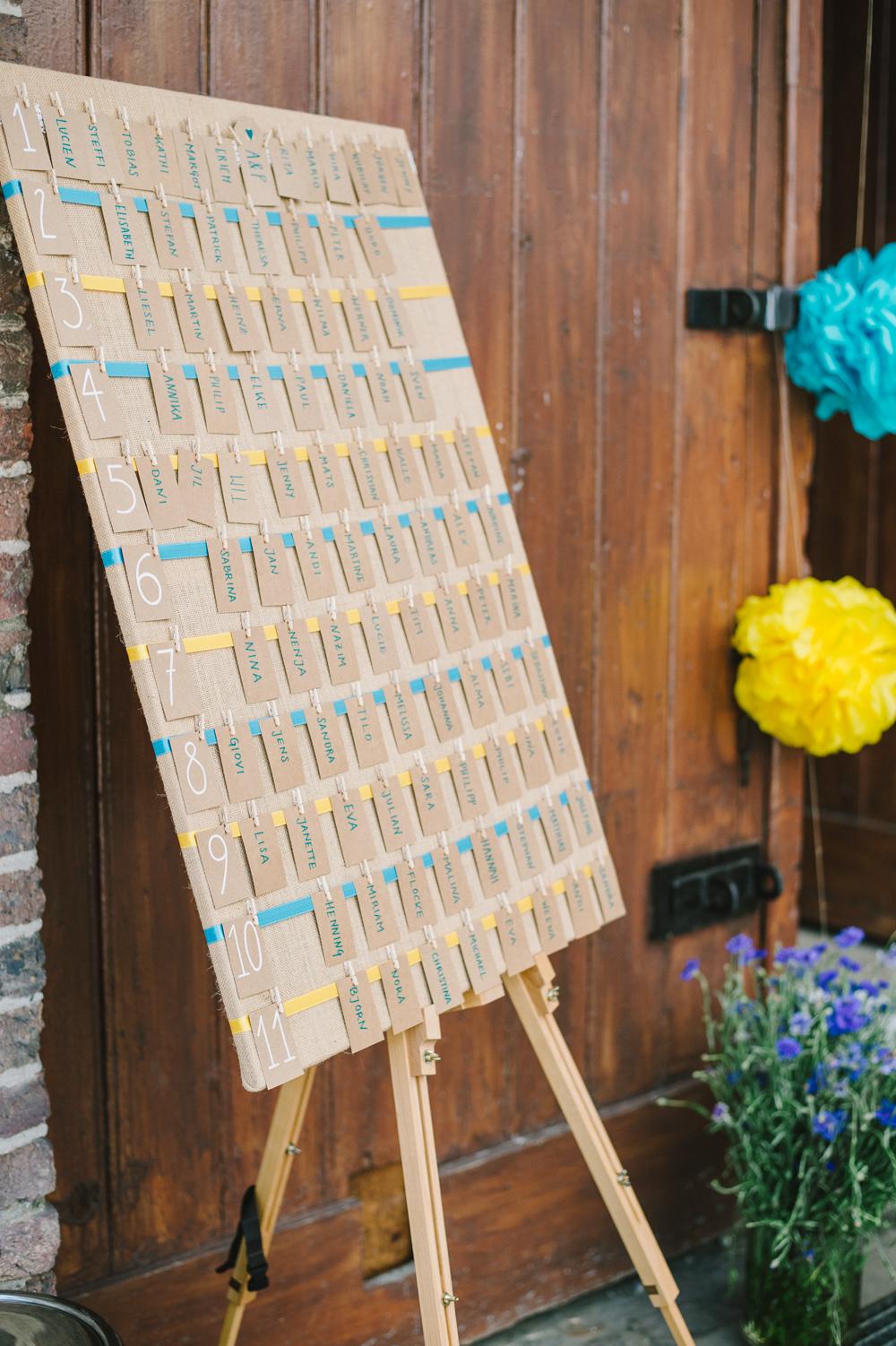 Sitzplan Hochzeit gelb blau