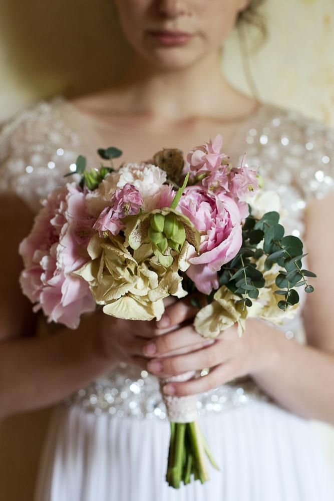 Brautstrauß rosa Hortensien